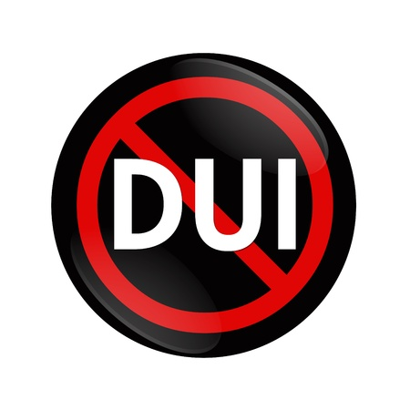 A black and red  button with word DUI and not symbol isolated on white, Stop Drinking and Driving photo