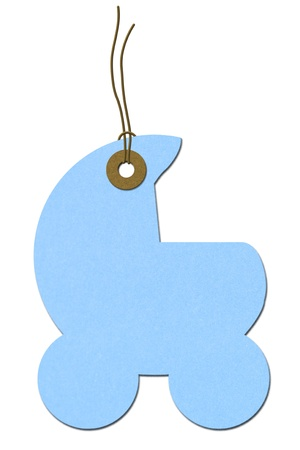 tag: Blue baby carriage gift tag isolated on white, Baby Shower Gift Tag
