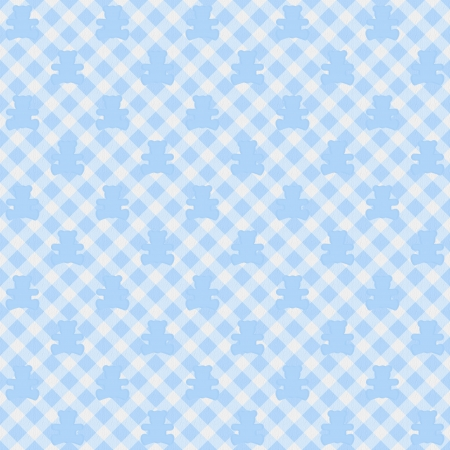 A light blue gingham fabric with teddy bears background that is seamless photo