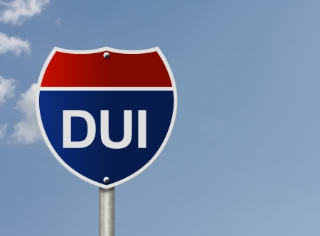 intoxication: An American road sign and words DUI with sky backround, Stop Drinking and Driving Stock Photo