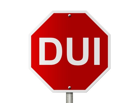 sobriety: An American road sign and words DUI isolated on white, Stop Drinking and Driving Stock Photo
