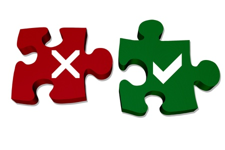 Red and green puzzle pieces with X mark and check mark isolated over white, Answers to your questions Imagens