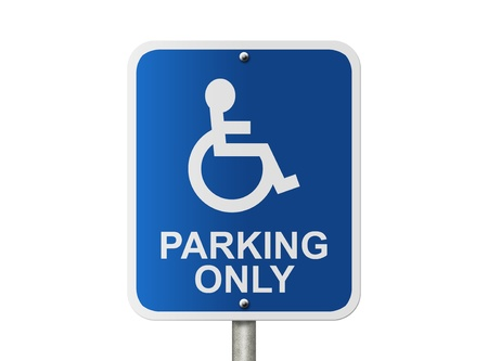 An American road sign isolated on white and icon of person in wheelchair and parking only, Handicap Parking Only Sign Stock Photo