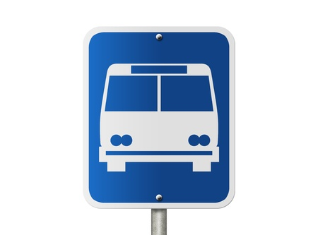 An American road sign isolated on white and icon of public bus, Bus Stop Sign Banco de Imagens - 18033175