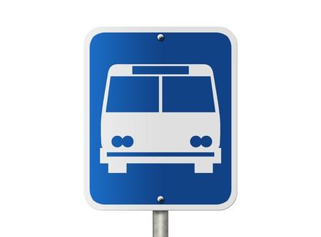 parada de autobus: Una señal de carretera americano aislado en blanco y el icono de autobús público, Señal Bus Stop Foto de archivo