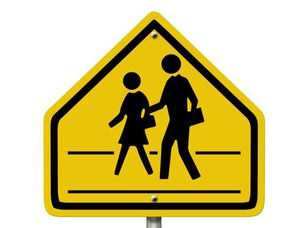 paso de peatones: Una carretera señal de advertencia americano aislado en blanco con la gente y los símbolos cruce peatonal, Paso peatonal Escuela Señal de peligro