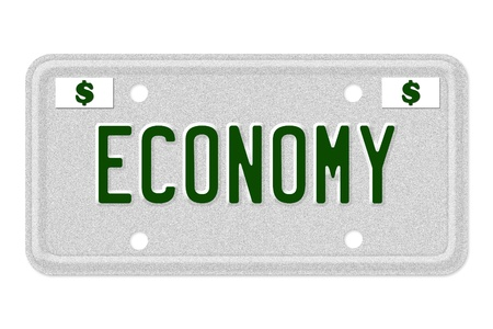 The word Economy on a gray license plate with dollar sign symbol isolated on white, Economy Car  License Plate photo