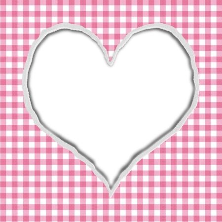 Pink Gingham Torn Background for your message or invitation with copy-space in shape of heart photo