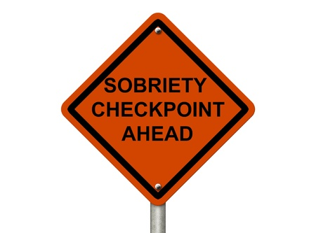 sobriety: An American road warning sign isolated on white with words Sobriety Checkpoint Ahead checkpoint, Stop Drinking and Driving