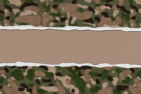 Camouflage Torn Background for your message or invitation with copy-space in middle