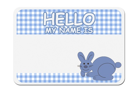 naming: A blue gingham hello my name is tag isolated over white, Naming your baby boy