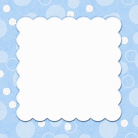 Blue Polka Dot background for your message or invitation with copy-space in middle Stock Photo