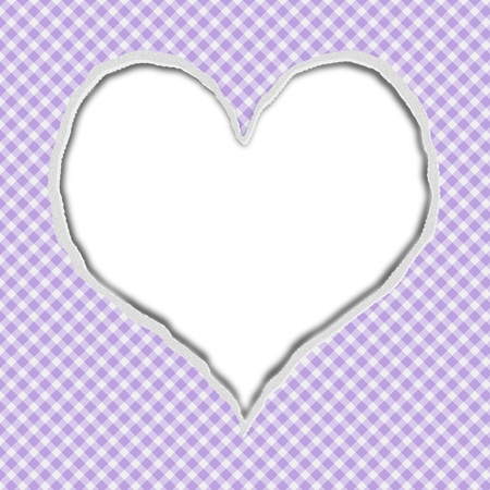 Purple Gingham Torn Background for your message or invitation with copy-space in shape of heart photo