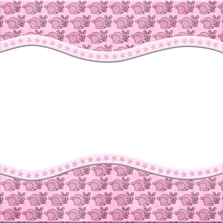 Pink Bunny Rabbit celebration frame for your message or invitation with copy-space in the middle photo