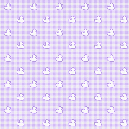 A light purple gingham fabric with ducks background that is seamless photo