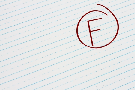Blue Lined Paper with the grade F in red circled, Getting the