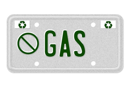 carbon footprint: The word No Gas on a gray license plate with recycle symbol isolated on white, No gas Car  License Plate