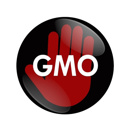 genetically modified: A black and red button with word GMO and hand symbol isolated on white, Stop using GMO food
