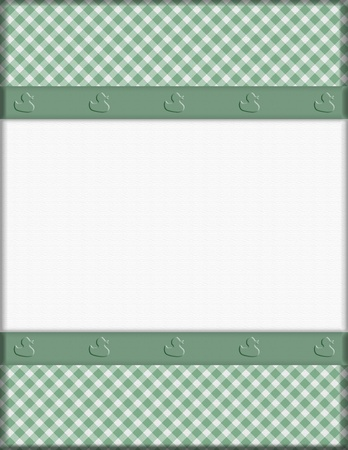 Green Gingham with Ribbon Background for your message or invitation with copy-space in the middle Stock Photo - 19447836