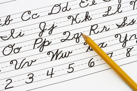 cursive: Example of cursive writing with a pencil, Learning cursive writing