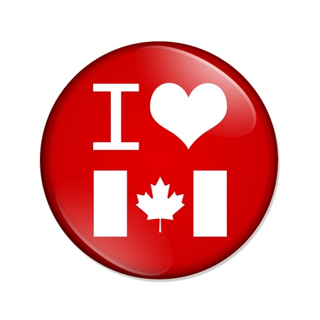 i love canada: A red  button with I heart Canada isolated on a white background, I love Canada