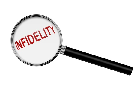 Magnifying Glass with word infidelity isolated on white with copy-space, Finding the cheater