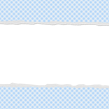 Blue Gingham Torn  Background for your message or invitation with copy-space in the middle Stock Photo - 20235771