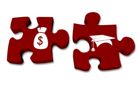 fees: Green puzzle pieces with symbols of a money bag and graduation cap isolated over white, Understanding your money and savings