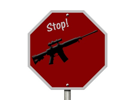 An American road sign and rifle isolated on white, Ban on rifles photo
