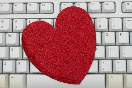 Computer keyboard keys with blank heart with copy space, Online Dating Stock Photo - 20230901