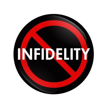 illicit: Un pulsante rosso e nero con la parola infedelt� e nessun simbolo isolato su bianco, Stop Infedelt�