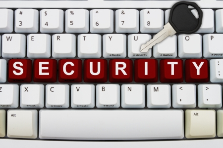informing: Computer keyboard keys with word password and a key, Online Security