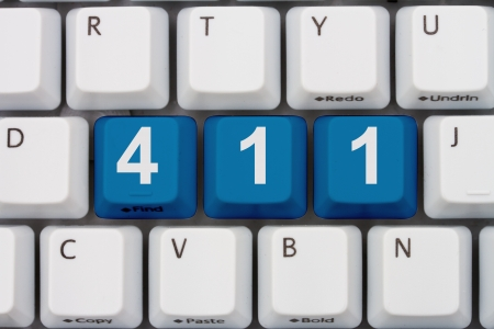 inform information: Computer keyboard keys with word 411, Information available online