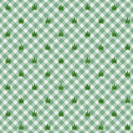 A light green gingham fabric with marijuana background that is seamless