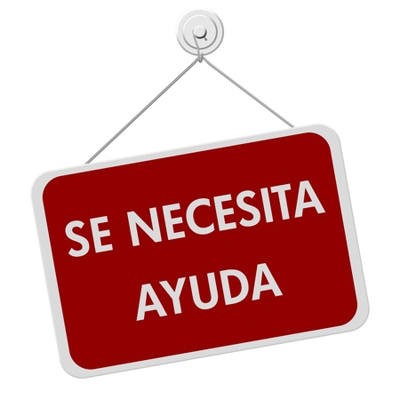 se: A red and white sign with the words Se Necesita Ayuda isolated on a white background, spanish for help wanted