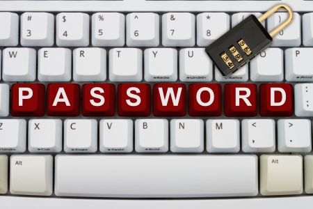 web scam: Computer keyboard keys with word password and a combination lock, Online Security