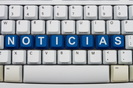inform information: Computer keyboard keys with word noticias, Spanish for news, Spanish News online Stock Photo