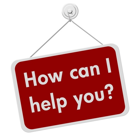 you can: Una se�al de rojo y blanco con las palabras �C�mo puedo ayudar a usted aislados sobre un fondo blanco, �C�mo te puedo ayudar Foto de archivo
