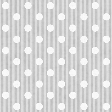 gray: Gray and White Polka Dot and Stripes Fabric Background that is seamless and repeats Stock Photo