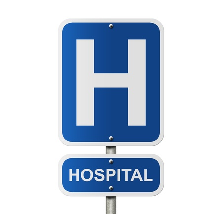 sign h: An American road sign isolated on white with a capital H and word Hospital, Hospital Sign Stock Photo