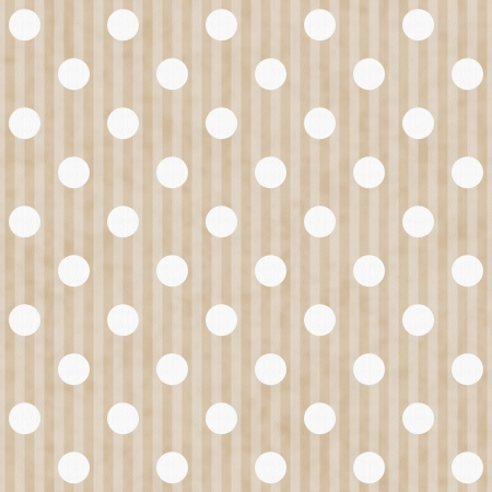 ecru: Ecru and White Polka Dot and Stripes Fabric Background that is seamless and repeats Stock Photo