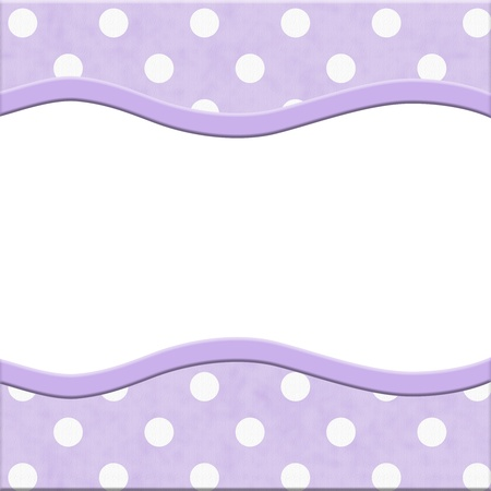 lilac background: Purple Polka Dot Frame for your message or invitation with copy-space in the middle