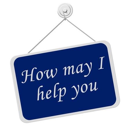 rectángulo: Un cartel azul y blanco con las palabras �en qu� puedo ayudarle aislado en un fondo blanco, �en qu� puedo ayudarle Foto de archivo