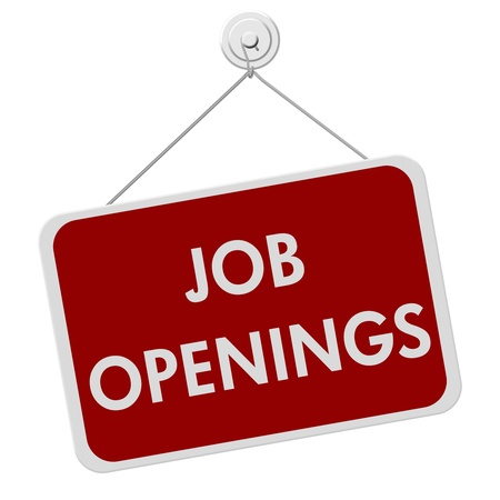 job advertisement: AA red and white sign with the word Job Openings isolated on a white background, Job Openings