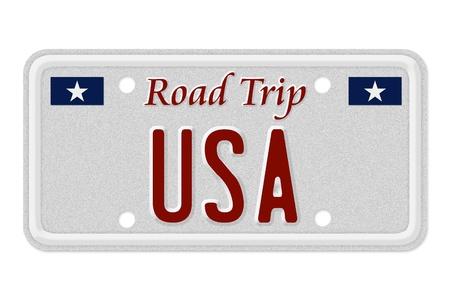 De woorden Road Trip USA op een grijze kenteken geïsoleerd op wit, Roadtrip USA