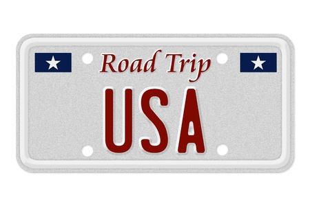 license plate: The words Road Trip USA on a gray license plate isolated on white, Road Trip USA Stock Photo