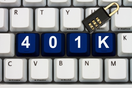 inform information: Computer keyboard keys with word 401k and a combination lock, Online Security Stock Photo