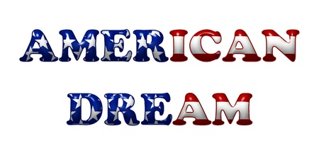 american dream: Word American Dream in 3D flag colors of USA isolated on white with copy-space, American Dream Stock Photo