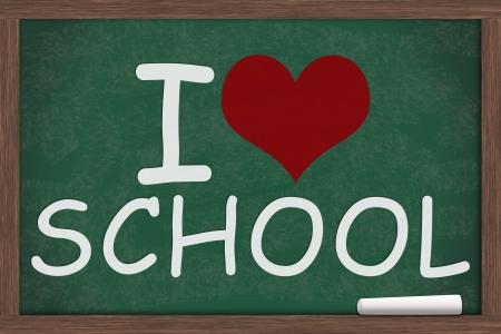 I heart, love school  written on a chalkboard, I love school Stock fotó - 20458705