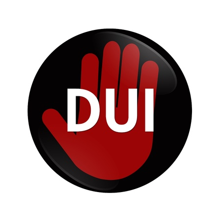 dui: A black and red  button with words DUI and hand symbol isolated on white, Stop Drinking and Driving